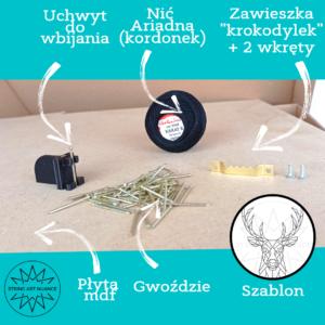 Infografika przedstawiająca zawartość zestawu String Art – zrób to sam.
