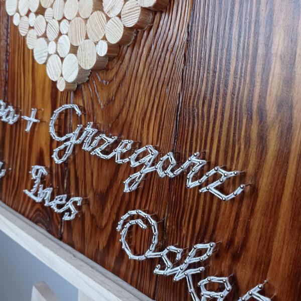 """Obraz stringartowy """"Jubileusz"""": drewniane okrągłe elementy tworzą kształt serca, a na dole pracy znajdują się wyplecione z nici imiona. Zdjęcie w zbliżeniu."""